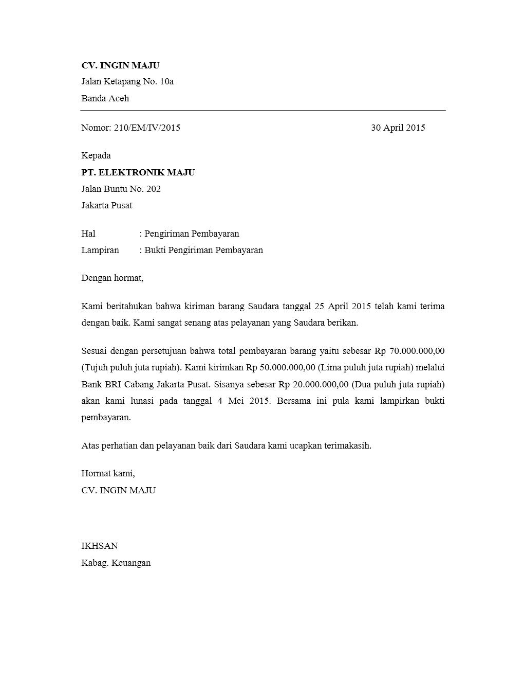 Kumpulan contoh surat pengiriman pembayaran yang benar contoh contoh surat pengiriman pembayaran thecheapjerseys Gallery