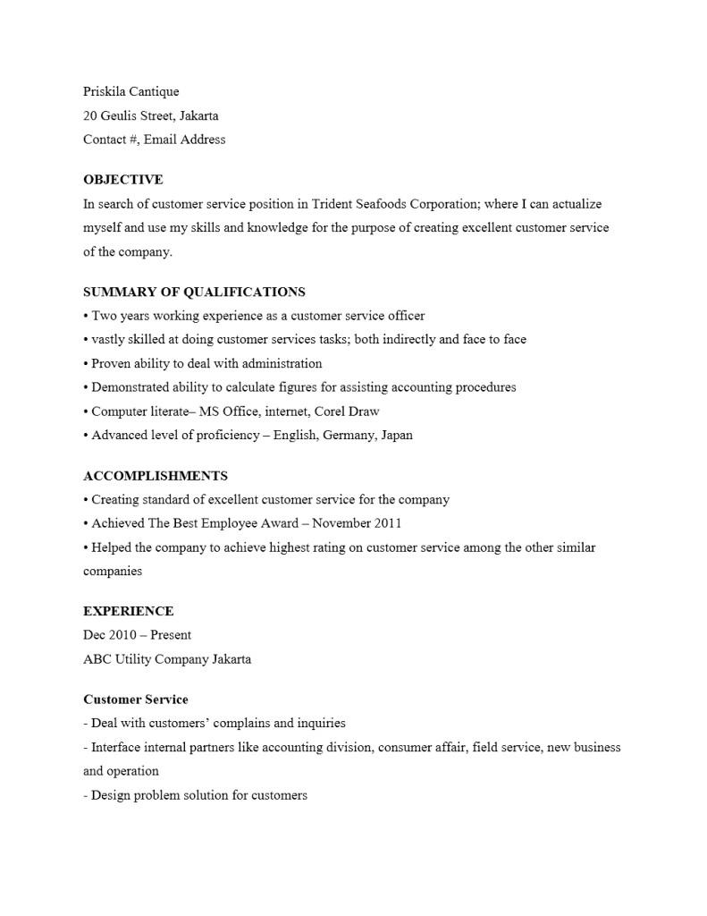Contoh Curriculum Vitae Customer Service