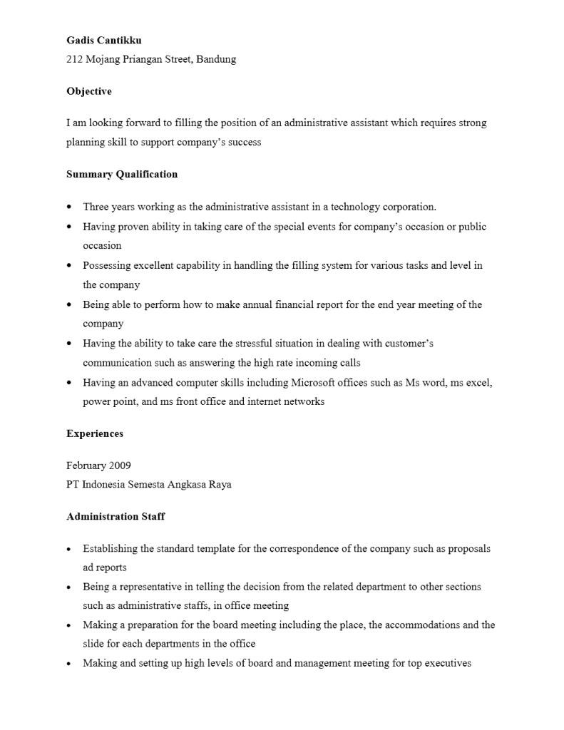 Contoh CV Staf Administrasi
