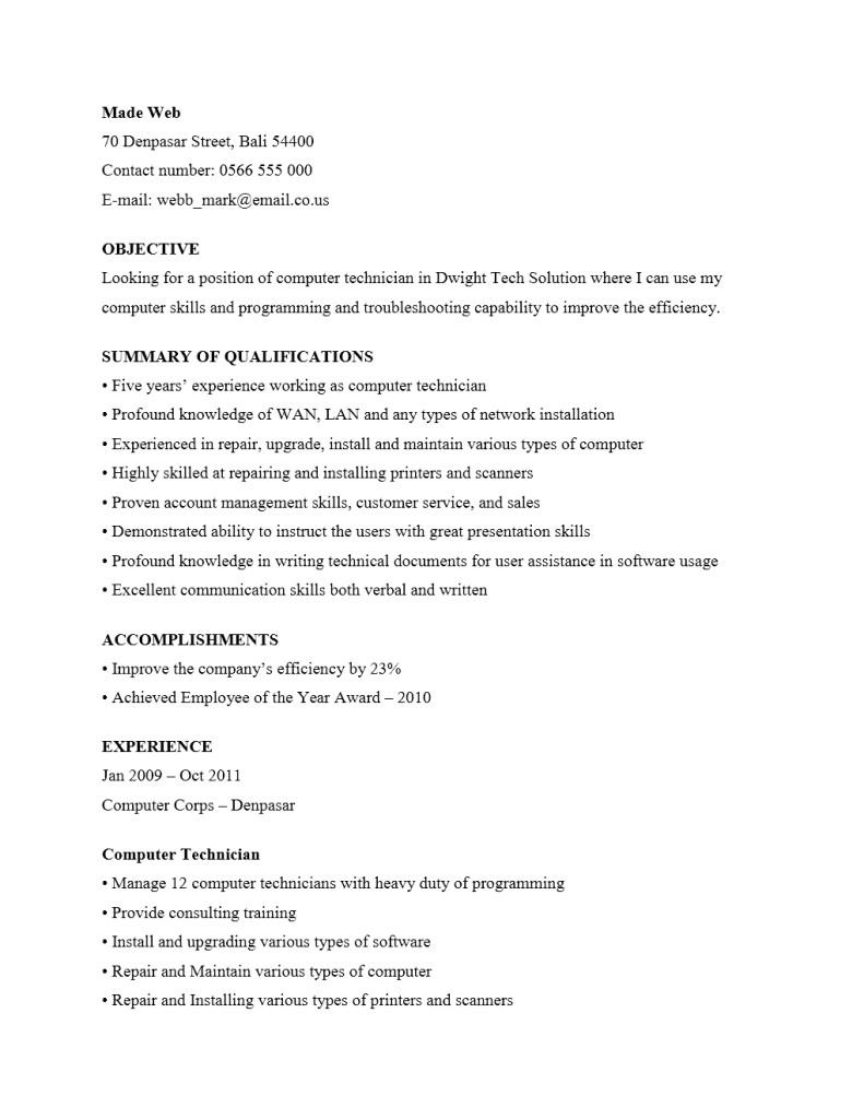 Contoh CV Teknisi Komputer
