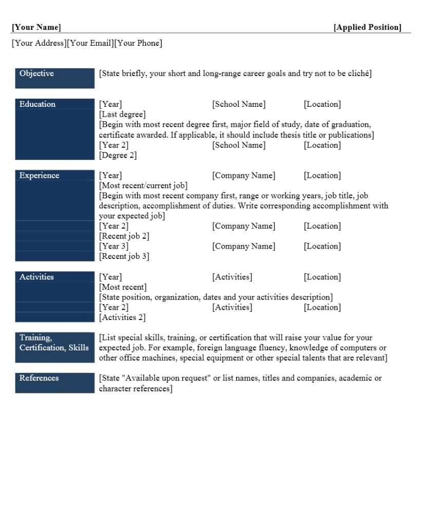 Contoh Curriculum Vitae Dalam Bahasa Inggris Word