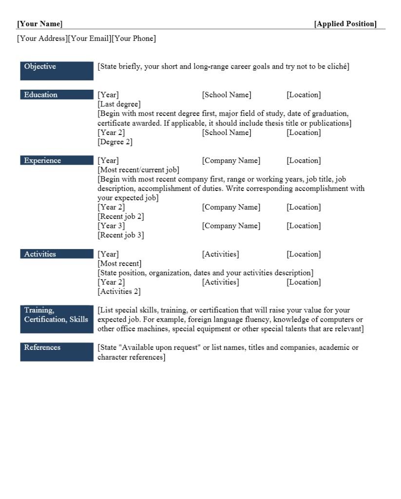 resume cv format