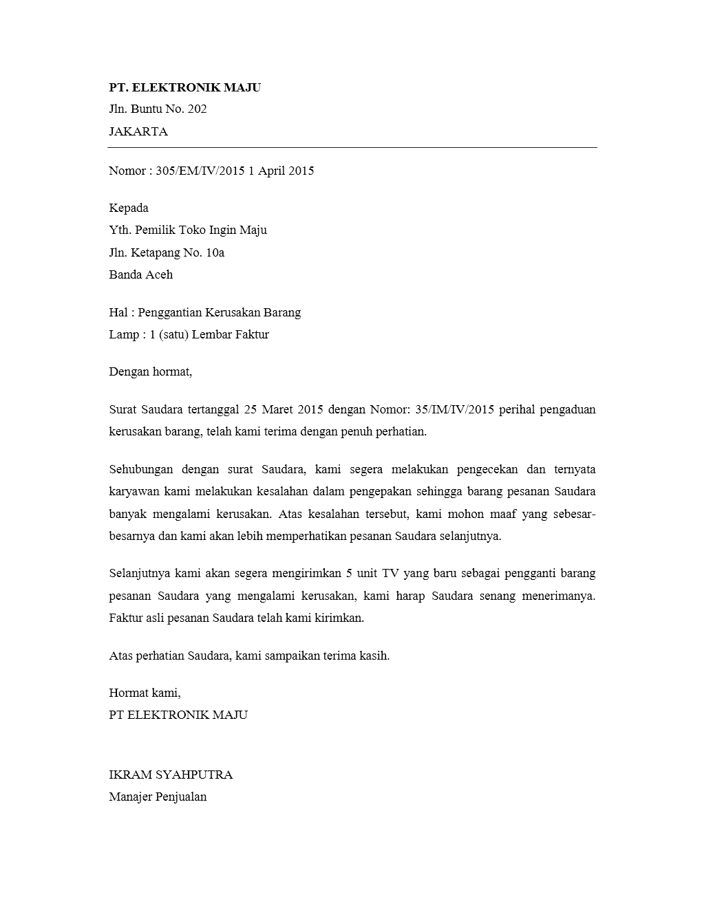 contoh surat jawaban pengaduan untuk pembeli kumpulan