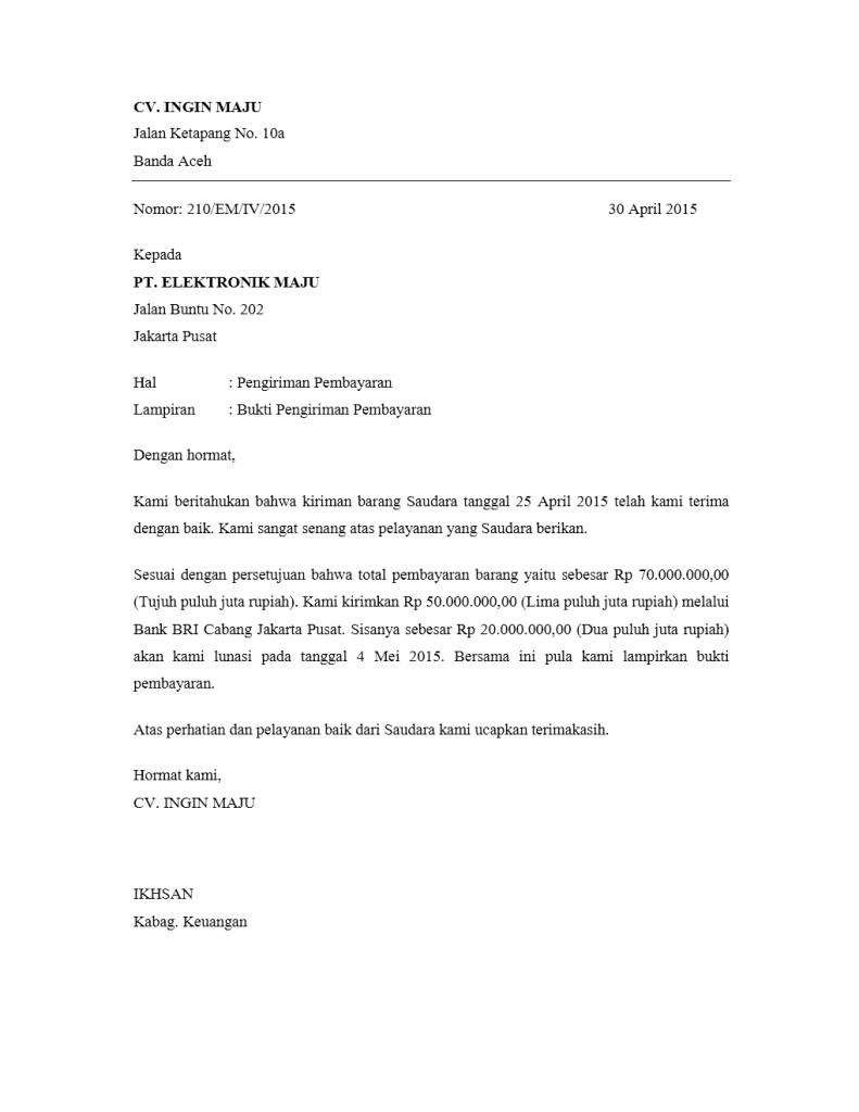Kumpulan Contoh Surat Pengiriman Pembayaran Yang Benar ...