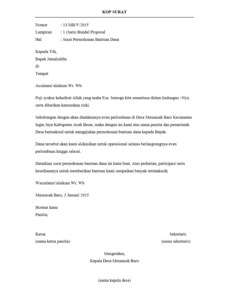 Contoh Surat Pengantar Proposal Permohonan Bantuan Dana