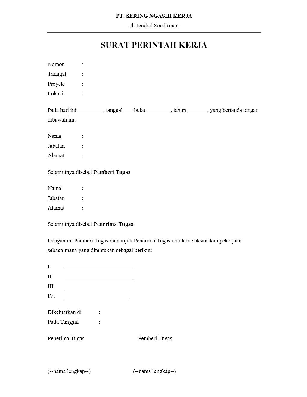 Contoh Surat Perintah Kerja Yang Benar Dan Formal Kumpulan
