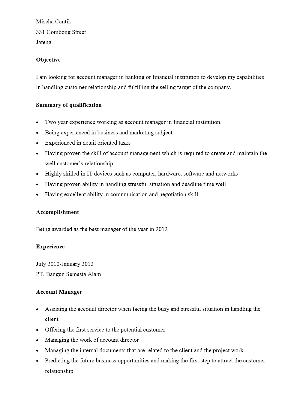 Curriculum Vitae Account Manager Dalam Bahasa Inggris Yang Menarik
