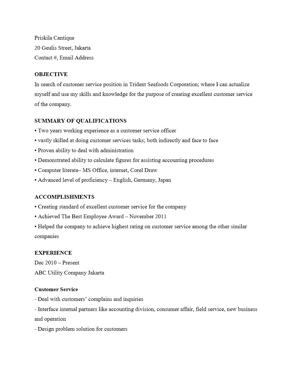 Curriculum Vitae Customer Service Yang Menarik Kumpulan Contoh Surat