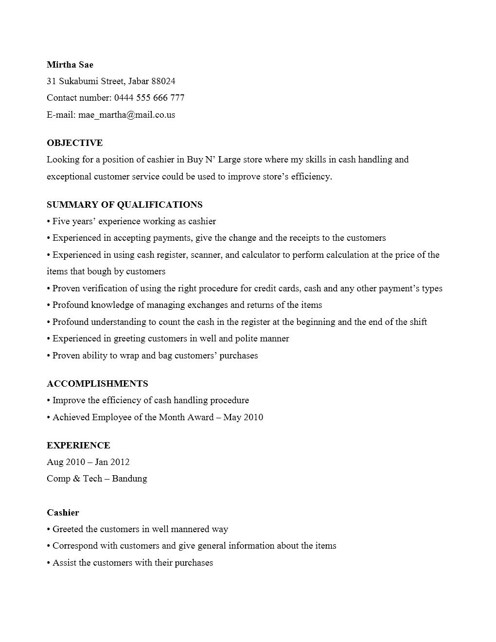 Curriculum Vitae Kasir Yang Menarik Contoh Surat Org