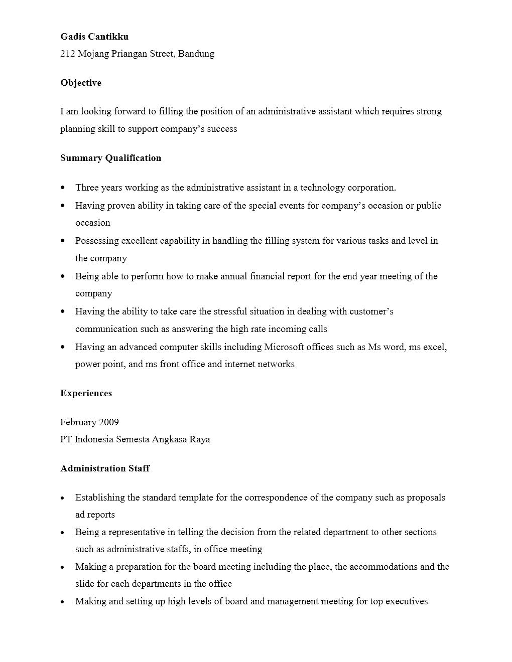 Curriculum Vitae Staf Administrasi Yang Menarik Contoh Surat Org