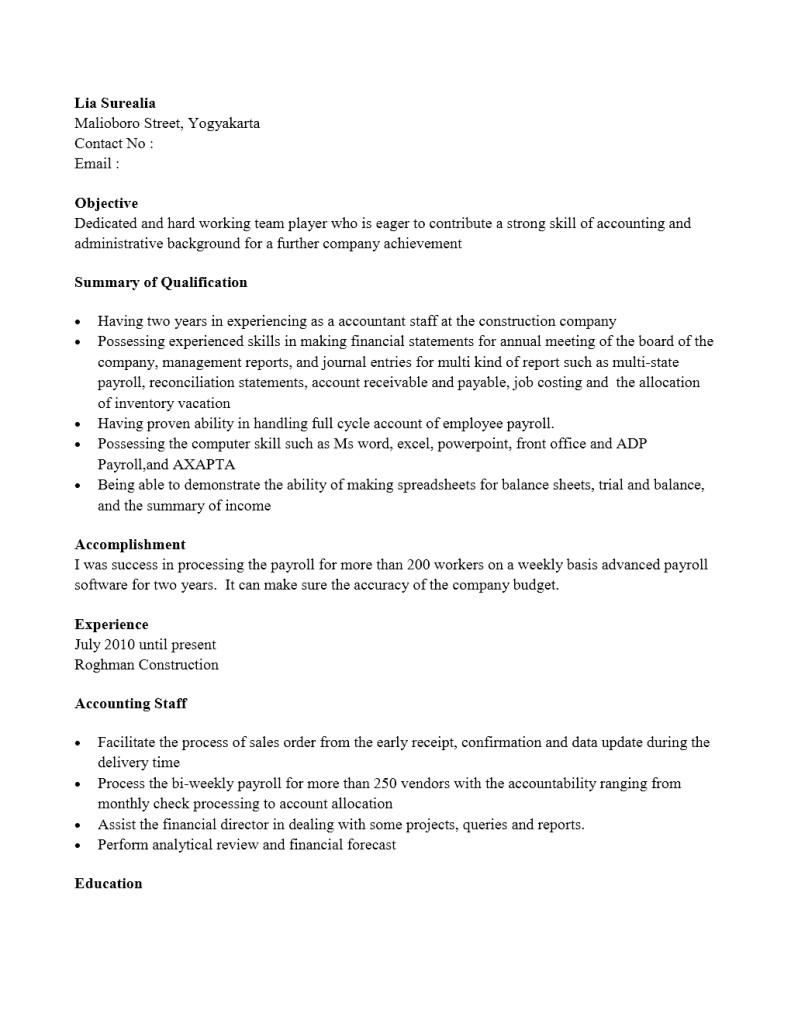 Contoh CV Staf Akunting