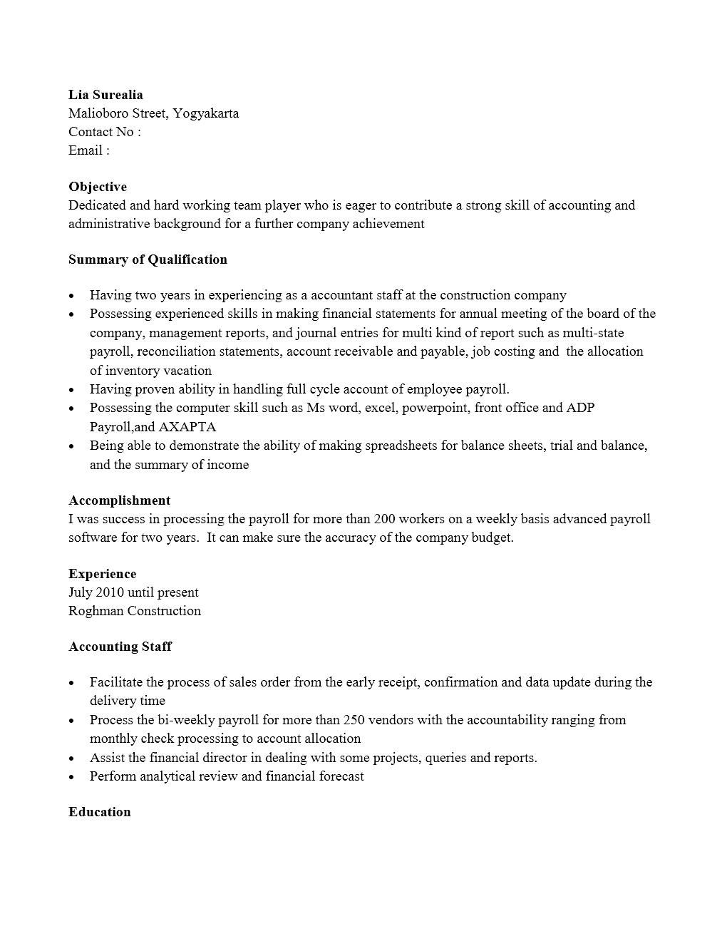 Curriculum Vitae Staf Accounting Yang Menarik Contoh Surat Org