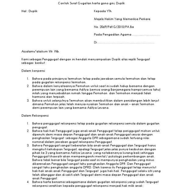 Contoh Surat Perjanjian Harta Gono Gini Pembagian Hak