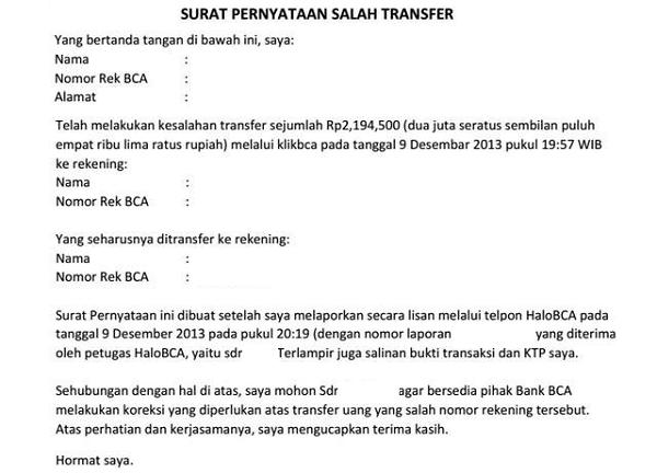 Contoh Surat Pernyataan Salah Transfer Uang Bank Perusahaan Dan